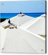 White Umbrellas Acrylic Print