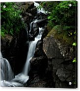 White Water Black Rocks Acrylic Print