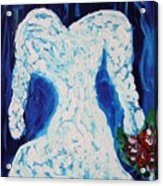 White Wedding Dress On Blue Acrylic Print