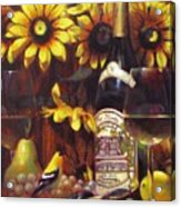White Wine And Gold Finch With Sun Flower Acrylic Print