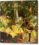White Wine And Grape In Vineyard Acrylic Print