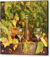 White Wine And Vineyard Autumn Season Acrylic Print
