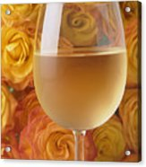 White Wine And Yellow Roses Acrylic Print