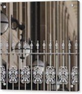 White Wrought Iron Gate In Chicago Acrylic Print