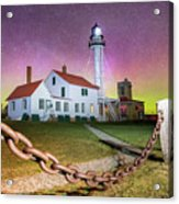 Whitefish Point Lighthouse   Northern Lights -0524 Acrylic Print