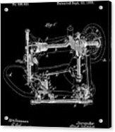 Whitehill Sewing Machine Patent 1885 Black Acrylic Print