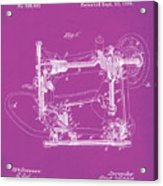 Whitehill Sewing Machine Patent 1885 Pink Acrylic Print