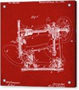 Whitehill Sewing Machine Patent 1885 Red Acrylic Print