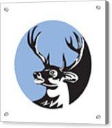 Whitetail Deer Buck Head Circle Retro Acrylic Print