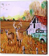 Whitetail Deer With Truck And Barn Acrylic Print