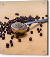Whole Black Peppercorns With A Heaping Teaspoon Of Ground Pepper Acrylic Print