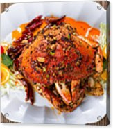 Whole Cooked Dungeness Crab With Peanut Sauce And Spices On Whit Acrylic Print