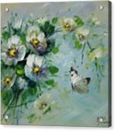 Whte Butterfly And Blossoms Acrylic Print