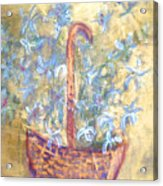 Wicker Basket Of Garden Flowers Acrylic Print
