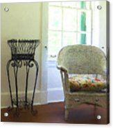 Wicker Chair And Planter Acrylic Print