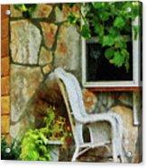 Wicker Rocking Chair On Porch Acrylic Print