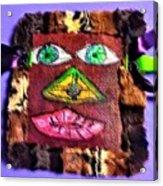 Wide Eyed Loup Garou Mardi Gras Screen Mask Acrylic Print