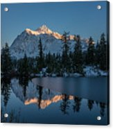 Wide Shuksans Last Light Reflected Acrylic Print