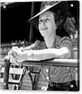 Wife Of The  The Arkansas Hummingbird Lon Warneke, Watches The Game From The Stands. 1939 Acrylic Print
