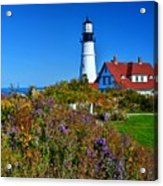 Wild Flowers Fading At The Portland Head Light Acrylic Print