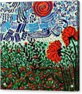 Wild Flowers Under Wild Sky Acrylic Print