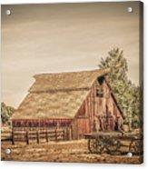Wild West Barn And Hay Wagon Acrylic Print