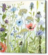 Wildflower And Bees Acrylic Print