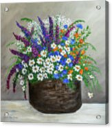 Wildflower Basket Acrylic Painting A61318 Acrylic Print