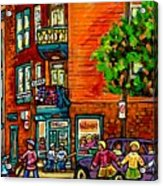 Wilensky Diner Little League Expo Kids Baseball Painting Montreal Scene Canadian Art Carole Spandau  Acrylic Print