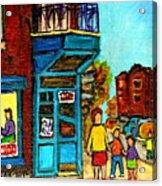 Wilensky's Counter With School Bus Montreal Street Scene Acrylic Print