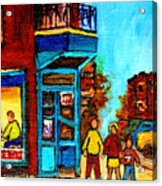 Wilensky's Lunch Counter With School Bus Montreal Street Scene Acrylic Print