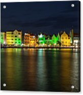 Willemstad And Queen Emma Bridge At Night Acrylic Print