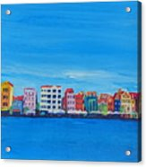 Willemstad Curacao Waterfront In Blue Acrylic Print