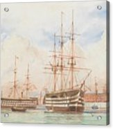 William Edward Atkins H.m.s. Victory And H.m.s. Duke Of Wellington In Portsmouth Harbour With An Ind Acrylic Print