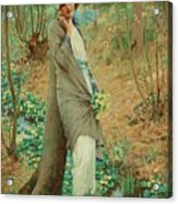 William Henry Margetson, Woman In A Spring Landscape. Acrylic Print