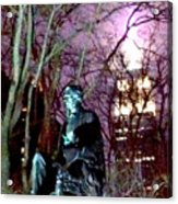 William Seward Statue And Empire State Bldg With Trees Acrylic Print