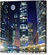 Willis Tower And Moon Acrylic Print