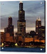Willis Tower At Dusk Aka Sears Tower Acrylic Print