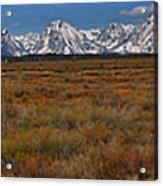 Willow Flats At Grand Teton Panorama Acrylic Print