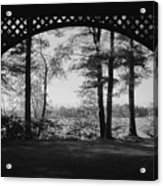 Wilson Pond Framed In Black And White Acrylic Print