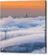 Wind Turbines At Sunrise Acrylic Print