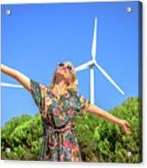 Wind Turbines Woman Acrylic Print