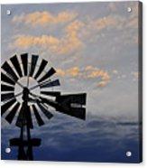 Windmill And Cloud Bank At Sunset Acrylic Print