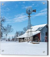 Windmill And Old Barn In Fresh Snow Acrylic Print
