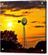 Windmill In Texas Sunset Acrylic Print