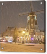 Windmill In The Snow Acrylic Print