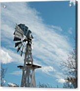 Windmill With White Wood Base Acrylic Print