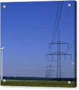 Windmills And High Voltage Transmission Acrylic Print