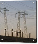 Windmills At A Electricity Producing Acrylic Print by Paul Chesley