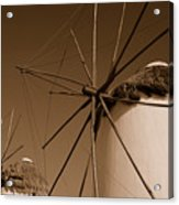 Windmills In Sepia Acrylic Print
